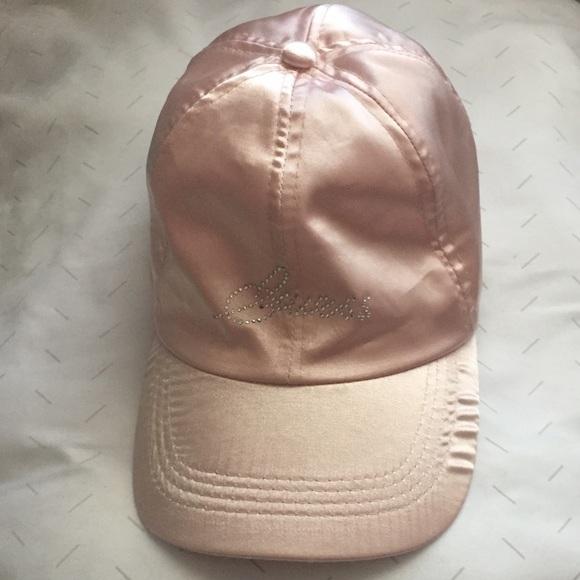 GUESS rhinestone satin ballet pink cap